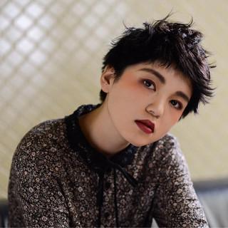 ヘアアレンジ 黒髪 ベリーショート 暗髪 ヘアスタイルや髪型の写真・画像