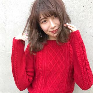 グレージュ シースルーバング ミディアム ショコラブラウン ヘアスタイルや髪型の写真・画像