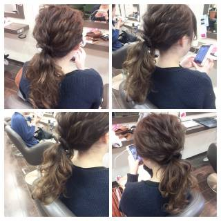アップスタイル ポニーテール ヘアアレンジ 結婚式 ヘアスタイルや髪型の写真・画像