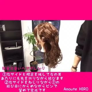 ヘアアレンジ セミロング フェミニン 簡単 ヘアスタイルや髪型の写真・画像