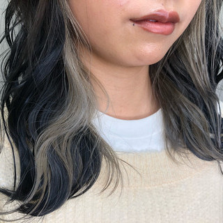 セミロング グラデーションカラー 切りっぱなしボブ ハイライト ヘアスタイルや髪型の写真・画像
