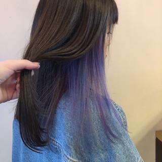 インナーカラーパープル ユニコーンカラー ストリート インナーカラー ヘアスタイルや髪型の写真・画像