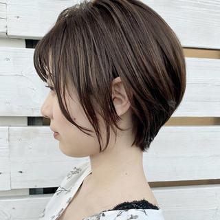ハイライト 透明感カラー ナチュラル ショート ヘアスタイルや髪型の写真・画像
