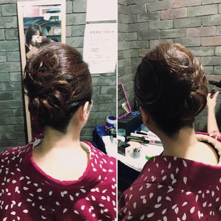 セミロング 和装 アップスタイル 夜会巻 ヘアスタイルや髪型の写真・画像