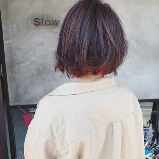 ハイライト ボブ ストリート レッド ヘアスタイルや髪型の写真・画像