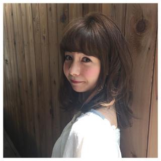 ミディアム モテ髪 ウェーブ ゆるふわ ヘアスタイルや髪型の写真・画像
