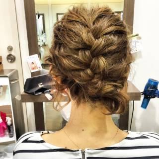 編み込み まとめ髪 簡単ヘアアレンジ ショート ヘアスタイルや髪型の写真・画像