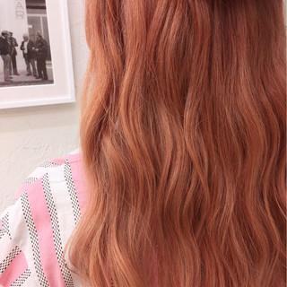 オレンジ ロング ガーリー 外国人風 ヘアスタイルや髪型の写真・画像