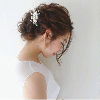 結婚式 セミロング エレガント ヘアアレンジ ヘアスタイルや髪型の写真・画像