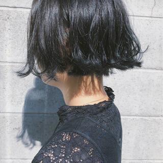 黒髪 切りっぱなし ボブ モード ヘアスタイルや髪型の写真・画像