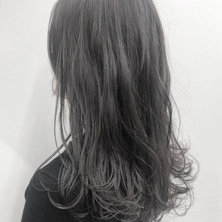 ヘアアレンジ 黒髪 グレージュ パーマ ヘアスタイルや髪型の写真・画像