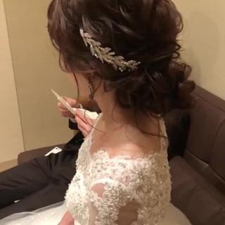結婚式ヘアアレンジ 大人かわいい ナチュラル ロング ヘアスタイルや髪型の写真・画像