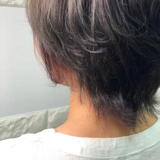ダブルカラー ミディアム 透明感 インナーカラー ヘアスタイルや髪型の写真・画像