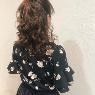 フェミニン ヘアセット 結婚式ヘアアレンジ ハーフアップ ヘアスタイルや髪型の写真・画像