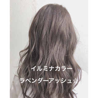 パーマ イルミナカラー セミロング ゆるふわ ヘアスタイルや髪型の写真・画像