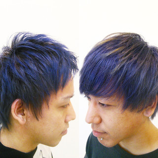 パープル ショート ストリート ブルー ヘアスタイルや髪型の写真・画像