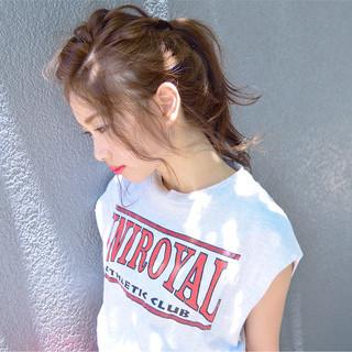 ヘアアレンジ ローポニーテール 簡単ヘアアレンジ ポニーテール ヘアスタイルや髪型の写真・画像