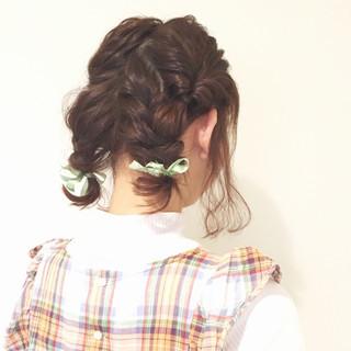 ゆるふわ ヘアアレンジ ガーリー ボブ ヘアスタイルや髪型の写真・画像
