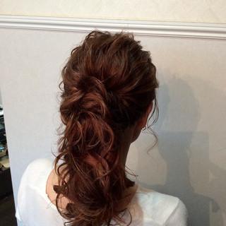 ナチュラル ヘアアレンジ 結婚式ヘアアレンジ セミロング ヘアスタイルや髪型の写真・画像