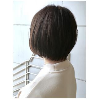 ショート アッシュブラウン ショートボブ ミニボブ ヘアスタイルや髪型の写真・画像