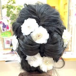 黒髪 ヘアアレンジ コンサバ 結婚式 ヘアスタイルや髪型の写真・画像