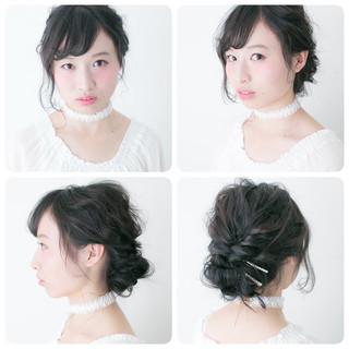 フェミニン 黒髪 ショート 簡単ヘアアレンジ ヘアスタイルや髪型の写真・画像