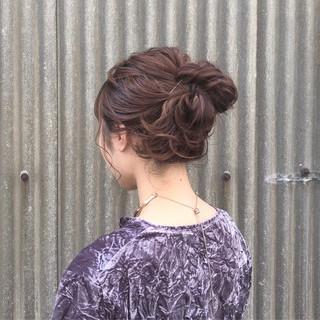 ピンク セミロング 簡単ヘアアレンジ ガーリー ヘアスタイルや髪型の写真・画像