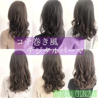 ロング ナチュラル グレージュ デジタルパーマ ヘアスタイルや髪型の写真・画像
