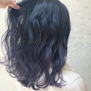 セミロング 外国人風カラー ネイビー パープル ヘアスタイルや髪型の写真・画像