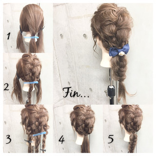 簡単ヘアアレンジ セミロング ショート 三つ編み ヘアスタイルや髪型の写真・画像 ヘアスタイルや髪型の写真・画像
