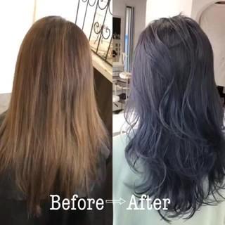 ブリーチ グラデーションカラー セミロング ダブルカラー ヘアスタイルや髪型の写真・画像 ヘアスタイルや髪型の写真・画像