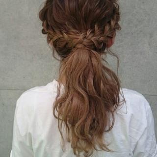 波ウェーブ セミロング グラデーションカラー ヘアアレンジ ヘアスタイルや髪型の写真・画像
