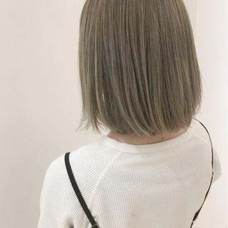 ミルクティーベージュ ロブ 透明感 ストリート ヘアスタイルや髪型の写真・画像