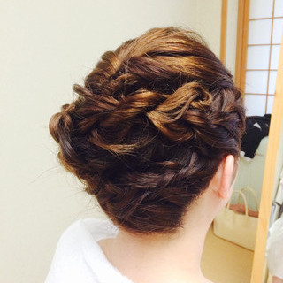ブライダル 編み込み 結婚式 着物 ヘアスタイルや髪型の写真・画像 ヘアスタイルや髪型の写真・画像