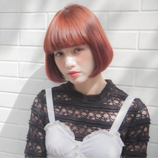 透明感 前髪あり ピンク ボブ ヘアスタイルや髪型の写真・画像