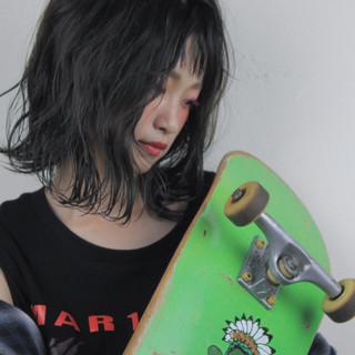 パーマ ヘアアレンジ ストリート ミディアム ヘアスタイルや髪型の写真・画像