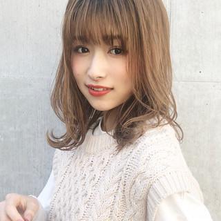 インナーカラー アンニュイほつれヘア デジタルパーマ ミディアム ヘアスタイルや髪型の写真・画像