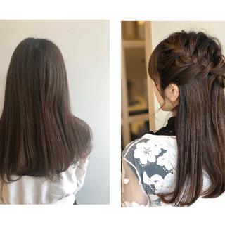 ポニーテール ガーリー セミロング ハーフアップ ヘアスタイルや髪型の写真・画像 ヘアスタイルや髪型の写真・画像