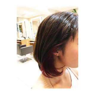インナーカラー 透明感 ボブ ストリート ヘアスタイルや髪型の写真・画像