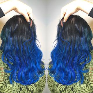 ブルー ストリート グラデーションカラー 成人式 ヘアスタイルや髪型の写真・画像
