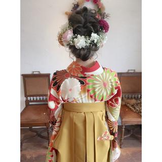 ハイライト 着物 ヘアアレンジ ガーリー ヘアスタイルや髪型の写真・画像
