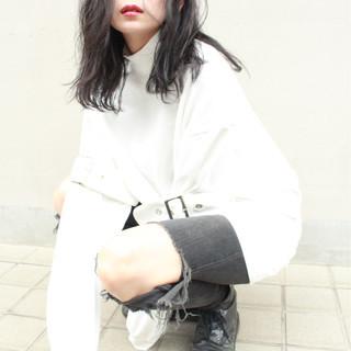 黒髪 ミディアム かっこいい 大人かわいい ヘアスタイルや髪型の写真・画像