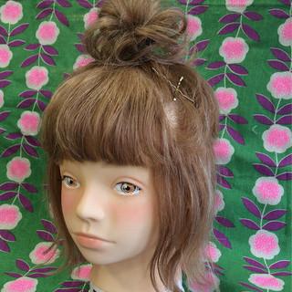 ハーフアップ ハイライト アッシュ ヘアアレンジ ヘアスタイルや髪型の写真・画像