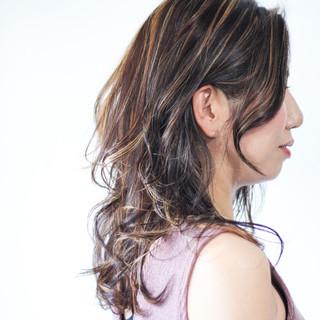ロング ハイライト 大人ハイライト コントラストハイライト ヘアスタイルや髪型の写真・画像