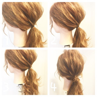 ポニーテール ヘアアレンジ ローポニーテール ロング ヘアスタイルや髪型の写真・画像