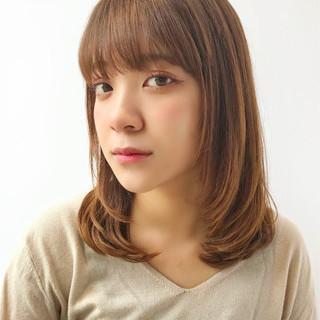 フェミニン ストレート 大人かわいい ミディアム ヘアスタイルや髪型の写真・画像
