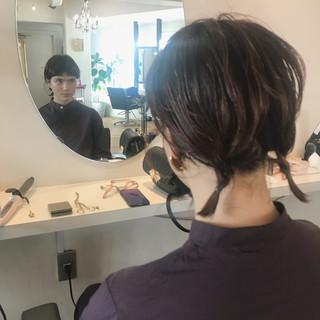 ミディアム ヘアアレンジ 抜け感 モード ヘアスタイルや髪型の写真・画像