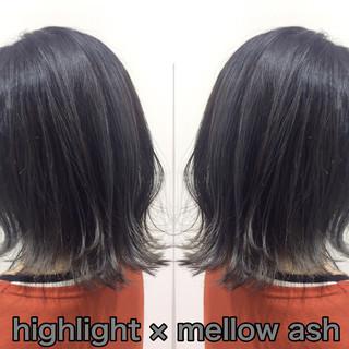 ヘアカラー ストリート バレイヤージュ ブルーアッシュ ヘアスタイルや髪型の写真・画像