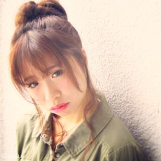 簡単ヘアアレンジ フェミニン かわいい ナチュラル ヘアスタイルや髪型の写真・画像