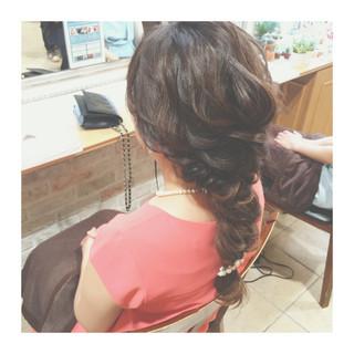 ゆるふわ 編み込み ロング フェミニン ヘアスタイルや髪型の写真・画像